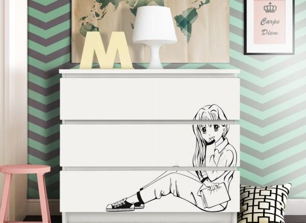 Wandtattoo Manga Mädchen passend für IKEA HEMNES und MALM Kommode W5247