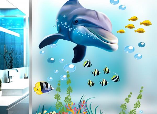Wandtattoo Unterwasserwelt Delfin & Fische W5293
