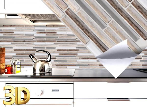 4x 3D Fliesenaufkleber 27 x 25,4 cm marmor silber taupe Ziegel W5530