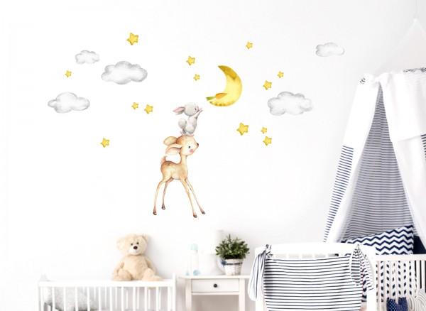 Little Deco Wandtattoo Reh & Hase mit Mond und Sternen DL462