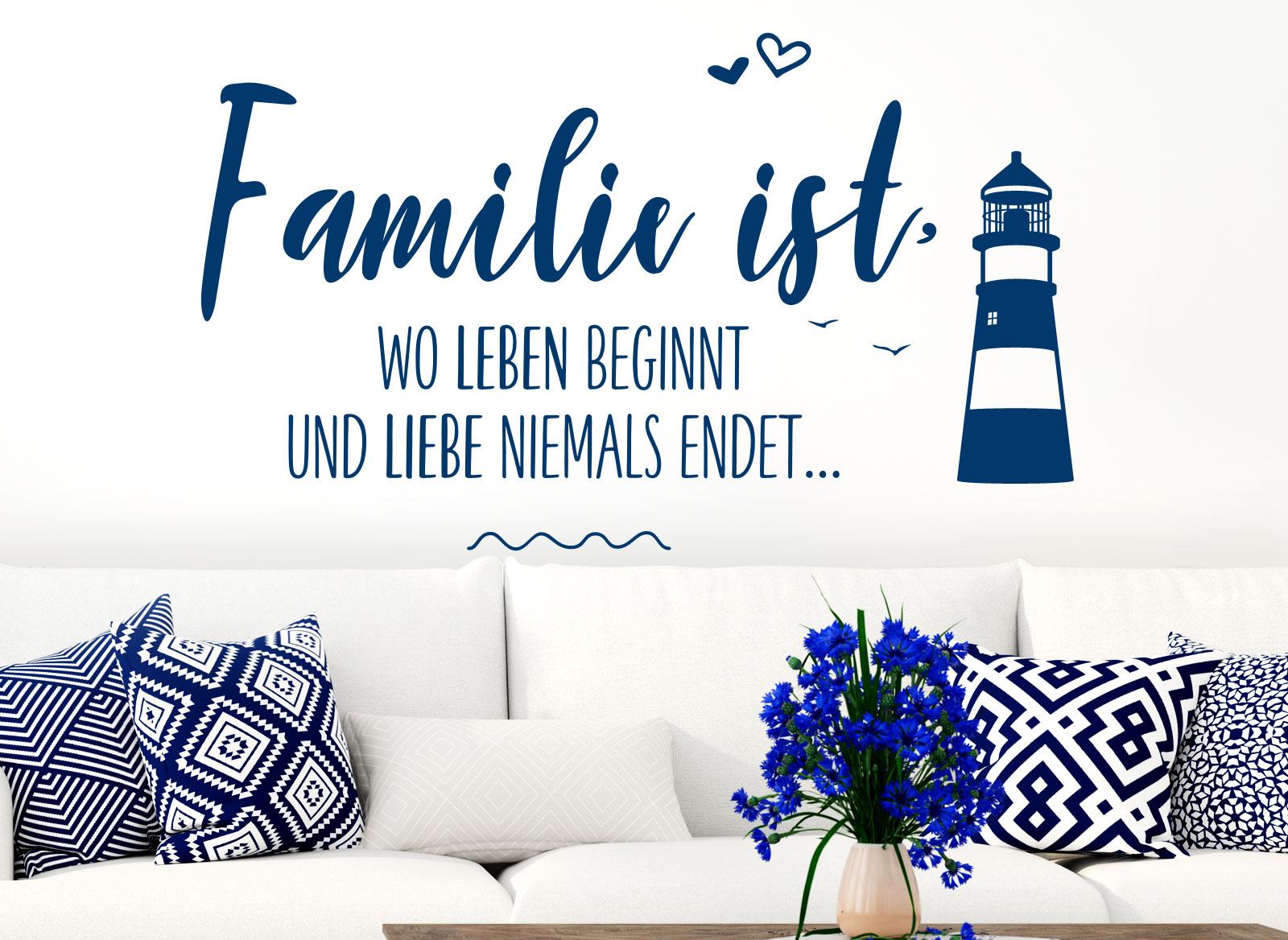 Wandtattoo Familie ist, wo Leben beginnt und Liebe niemals