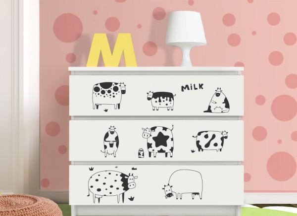 Wandtattoo Lustige Kühe Passend Für IKEA HEMNES Und MALM Kommode W5243