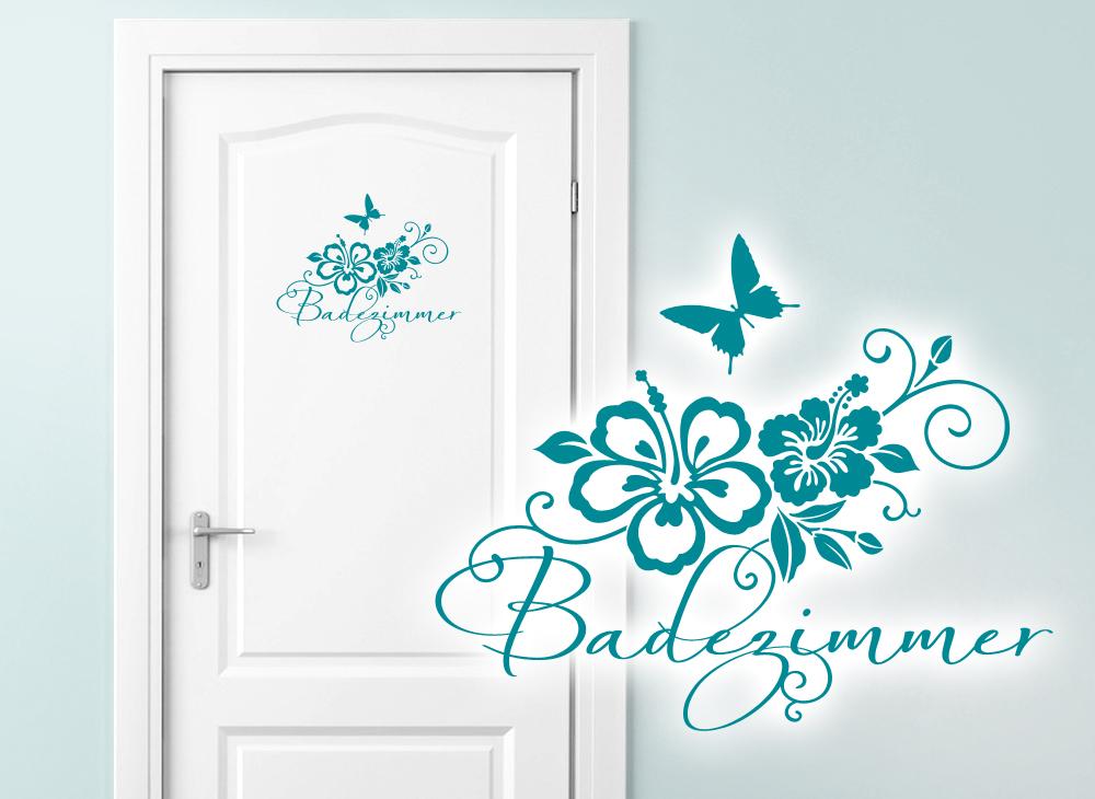 Wandtattoo wc aufkleber badezimmer hibiskus w764 for Wandtattoo zimmer