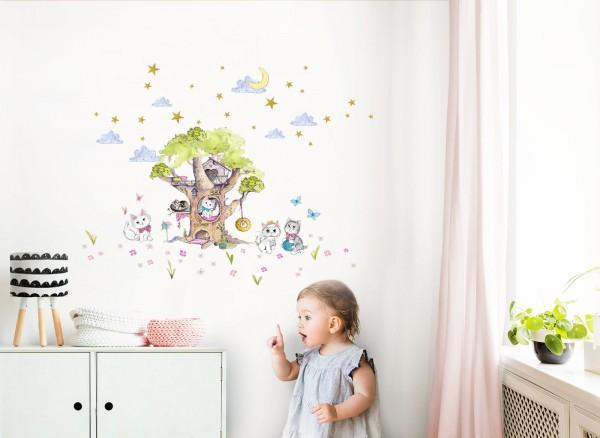 Little Deco Wandtattoo Baum mit Katzen DL411