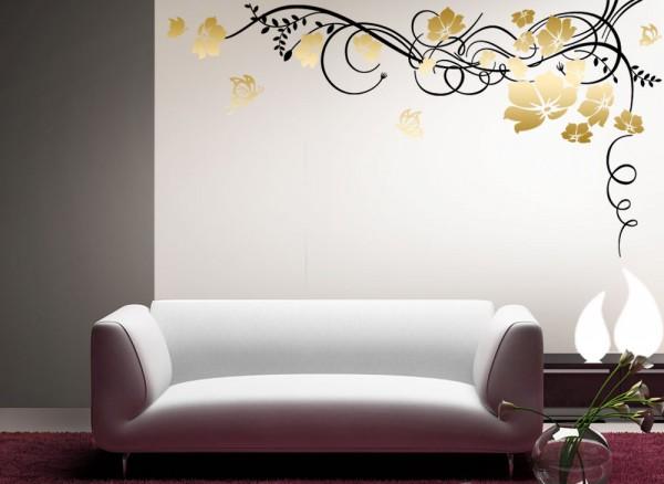 Wandtattoo Blumenranke 2-farbig + Schmetterlinge W863