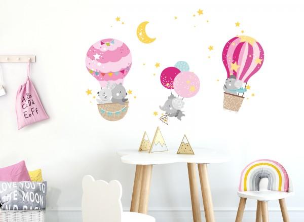 Little Deco Wandtattoo Tiere im Heißluftballon DL511