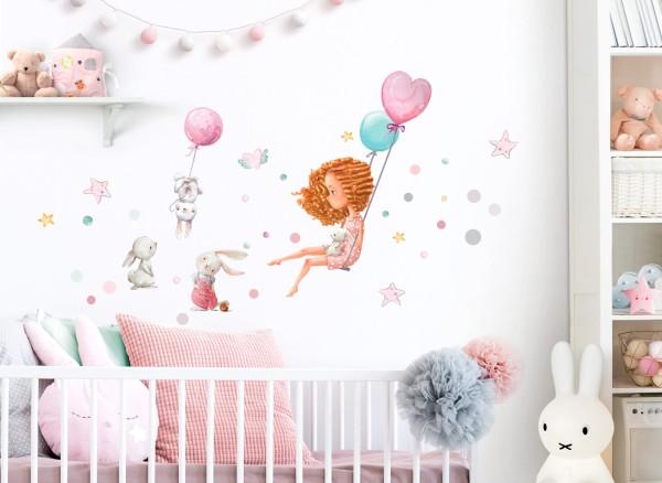 Little Deco Wandtattoo Mädchen mit Hasen & Luftballons DL674