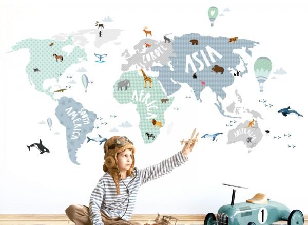 Wandtattoo Weltkarte mit Tieren grau blau grün DL130 | Mädchen ...