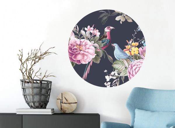 Wandaro runder Wandaufkleber anthrazit mit Vögel & Blumen DL571
