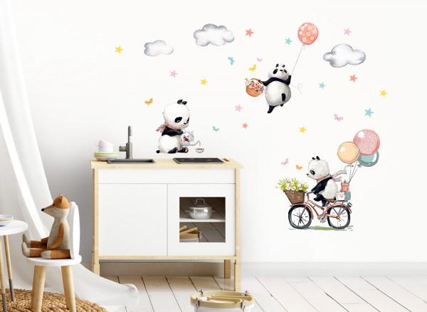 Little Deco Wandtattoo Drei Panda mit Fahrrad Blumen & Luftballons DL470