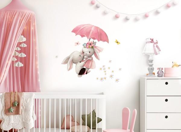 Little Deco Wandtattoo Hasen mit Regenschirm DL601
