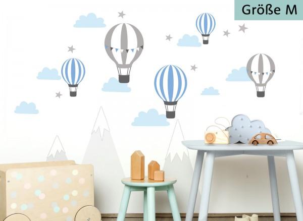 Little Deco Wandtattoo Heißluftballons Blau Grau DL502