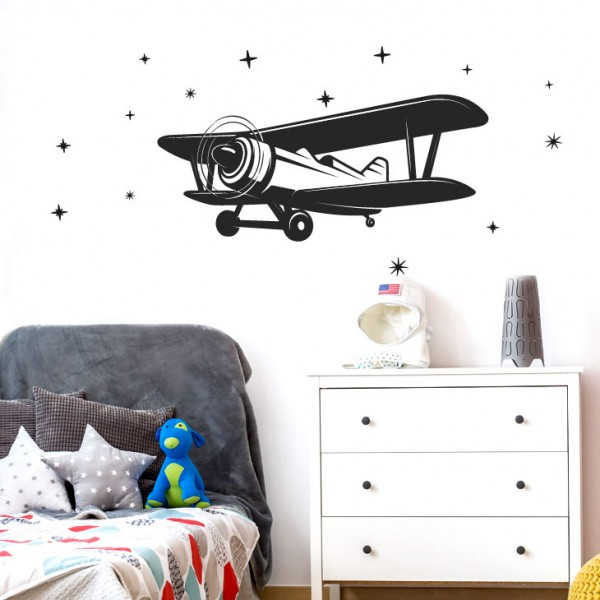 Wandtattoo Flugzeug Doppeldecker + Sterne W5518