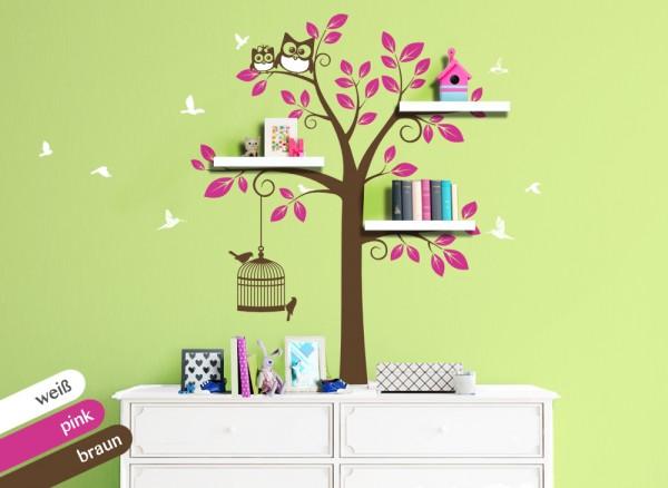 Wandtattoo 3-farbiger Baum mit Vögeln & Eulen weiß / pink / braun W1338