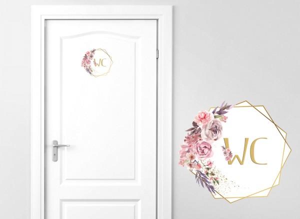 Grandora Türaufkleber WC mit Blumenranke DL444