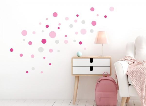 Little Deco Wandtattoo 86 Punkte Kreise pink rosa DL491