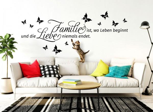 Wandtattoo Familie - Wo das Leben beginnt und ... W5007