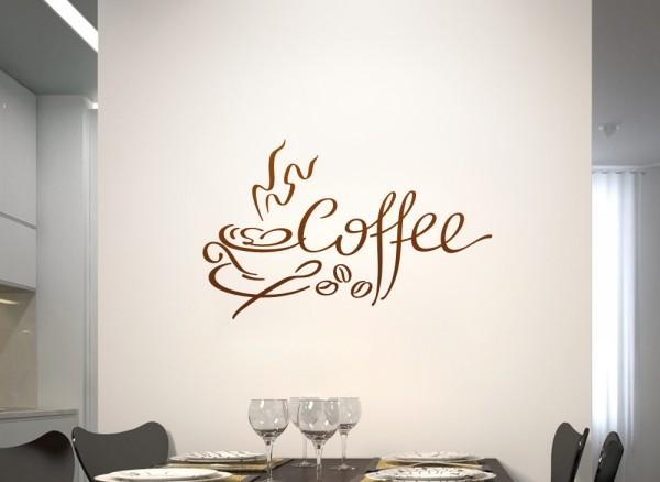 Wandtattoo Kaffeetasse mit Bohnen und Schrift Coffee W783 ...