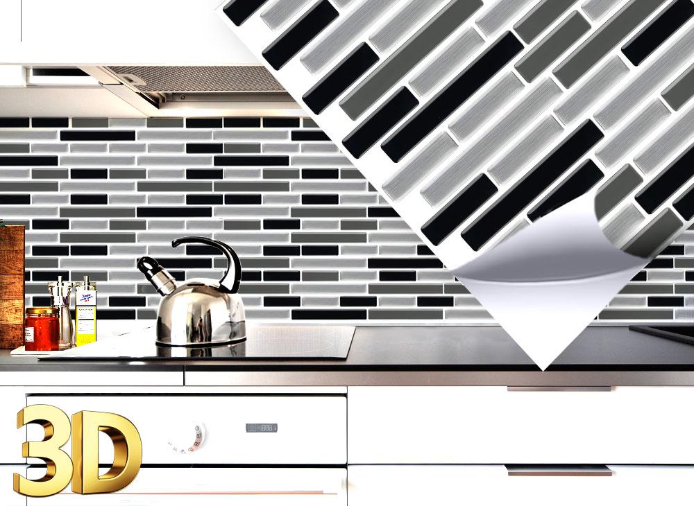 4x 3d fliesenaufkleber 27 9 x 23 4 cm schwarz grau silber for Fliesenaufkleber schwarz