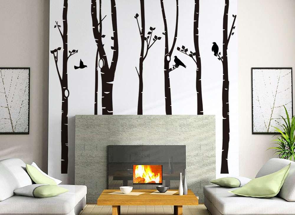 wandtattoo xxl birkenstämme  vögel w5187  bäume  Äste