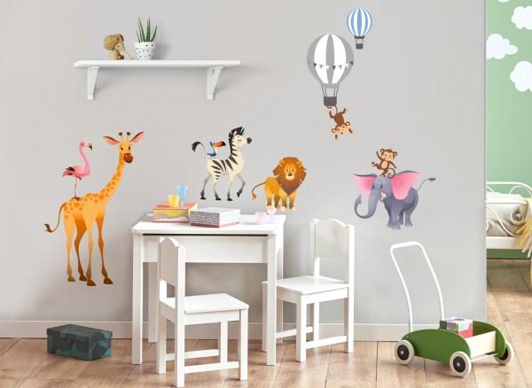 Little Deco Wandtattoo Dschungeltiere & Heißluftballons DL473