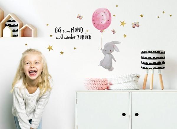 Little Deco Wandtattoo Hase mit Luftballon Rosa & Spruch Bis zum Mond DL239