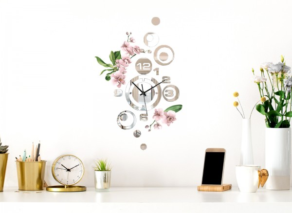 Design Wanduhr Spiegelglas mit Blumendesign DL424