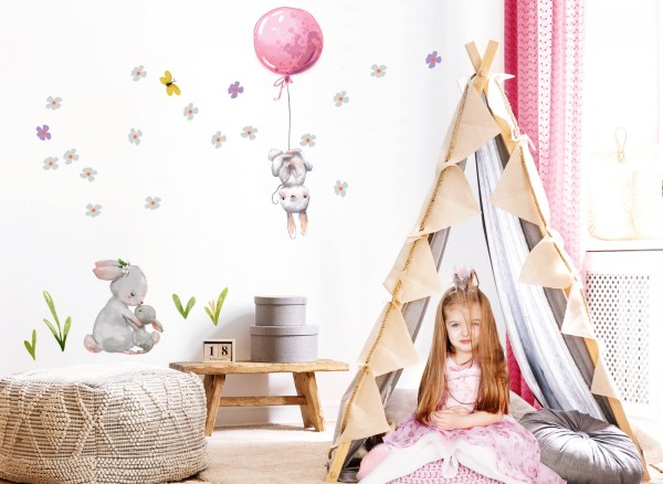 Little Deco Wandtattoo Hasen mit Ballon Rosa DL238