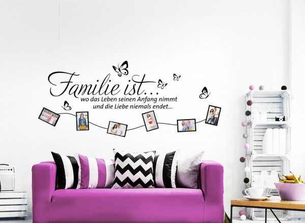 Wandtattoo Spruch Familie Wo das Leben seinen Anfang nimmt... W5218