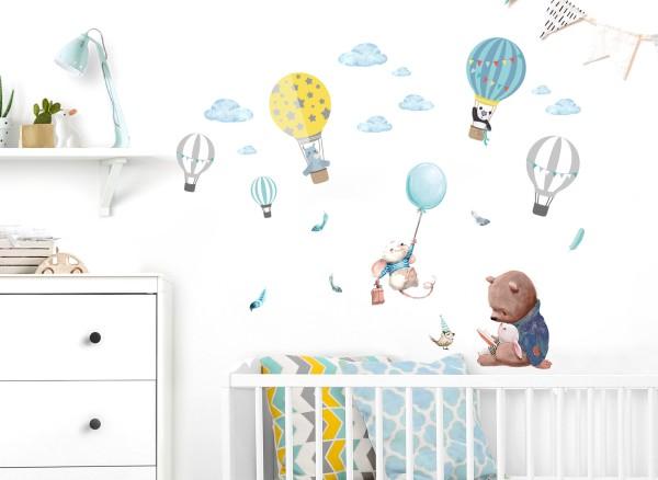 Little Deco Wandtattoo Waldtiere mit Federn & Heißluftballons DL672