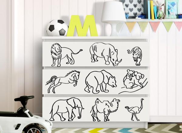 Wandtattoo Tierwelt passend für IKEA HEMNES und MALM Kommode W5244