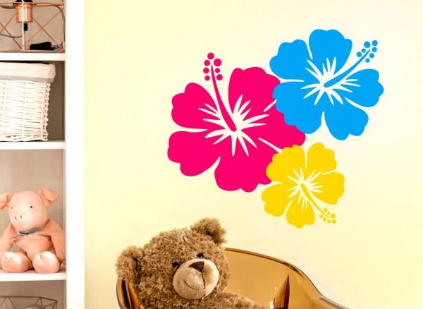 Wandtattoo 3er Set Hibiskusblüten G095
