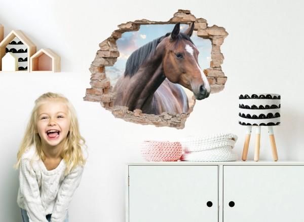 Little Deco Wandtattoo 3D Loch in der Wand mit Pferdekopf DL627