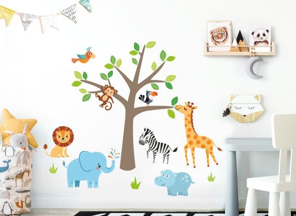 Little Deco Wandtattoo Safari Dschungeltiere & Baum DL518