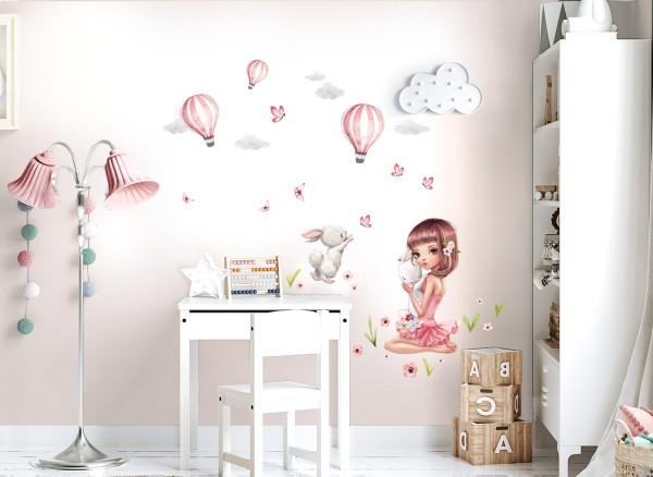 Little Deco Wandtattoo Mädchen mit Hasen & Heißluftballons DL689