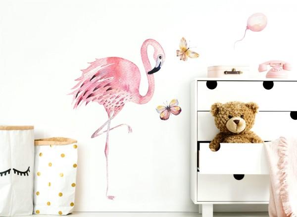 Wandtattoo Flamingo & Schmetterlinge DL155 | Mädchen | Kinderzimmer ...