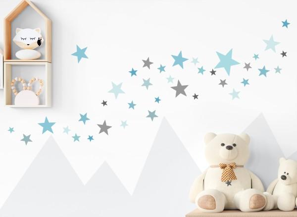 Little Deco Wandtattoo 60 Sterne blau mint grau DL673