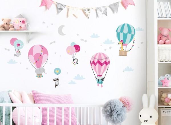 Little Deco Wandtattoo Tiere im Heißluftballon DL529