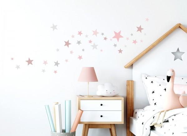 Little Deco Wandtattoo 60 Sterne rosa grau DL404