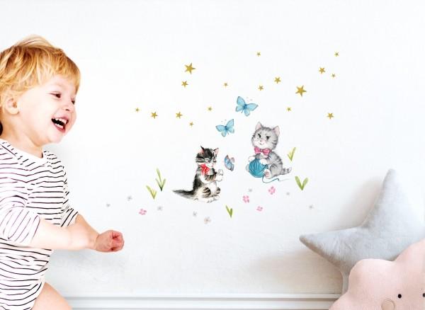 Little Deco Wandtattoo 2 Katzen mit Schmetterlingen DL414