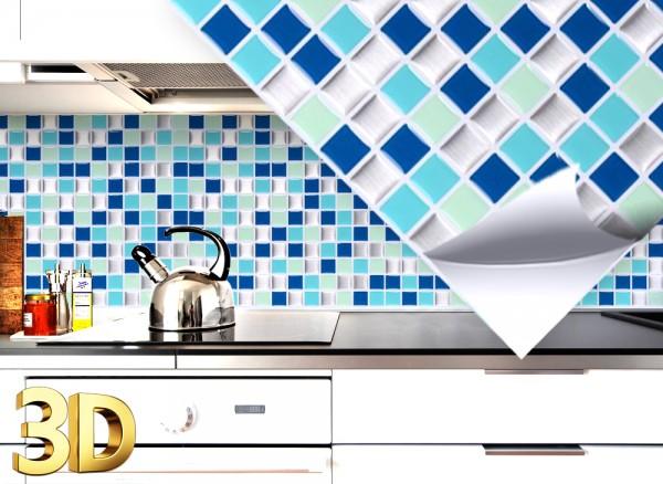 4x 3D Fliesenaufkleber 25,3 x 25,3 cm W5200 blau türkis silber