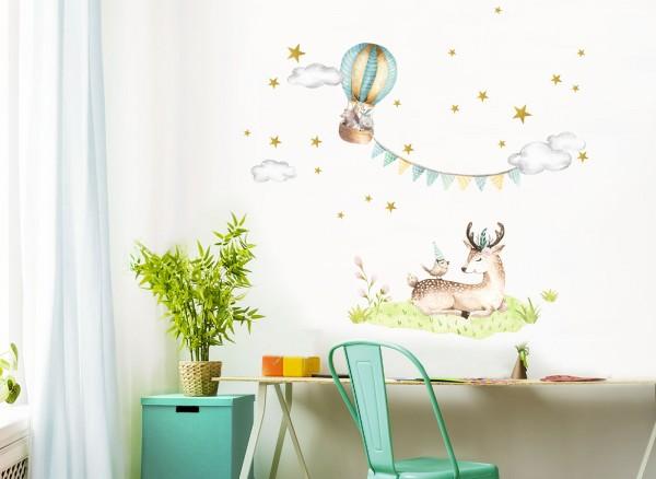 Little Deco Wandtattoo Reh und Heißluftballon DL467