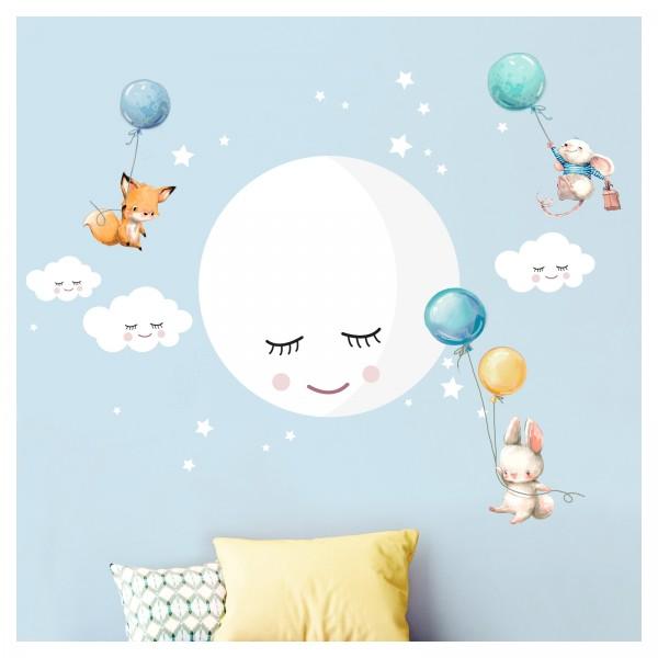 Little Deco Wandtattoo Mond Wolken Tiere Ballon blau türkis DL433