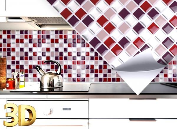 4x 3D Fliesenaufkleber 25,3 x 25,3 cm W5202 rot beige silber