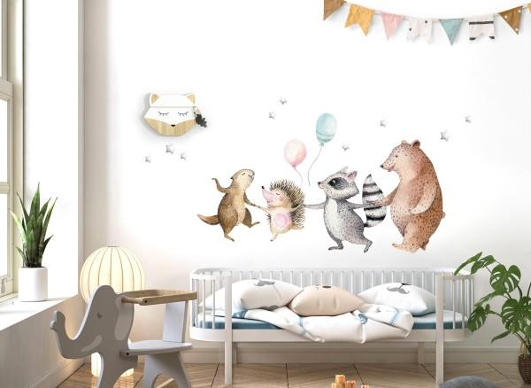 Little Deco Wandtattoo Waldtiere mit Ballons und Sternen DL719