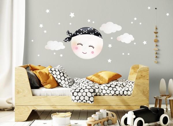Little Deco Wandtattoo Mond mit Piraten Kopftuch und Wolken ...