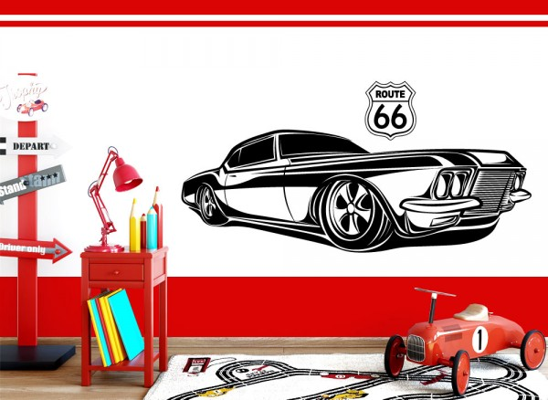 Wandtattoo Amerikanisches Muscle Car Route 66 W5511