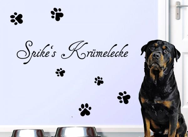 Wandtattoo Krümelecke + Wunschname für Haustiere W5166