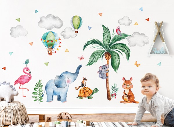 Little Deco Wandtattoo Safari Tiere & Palme DL643