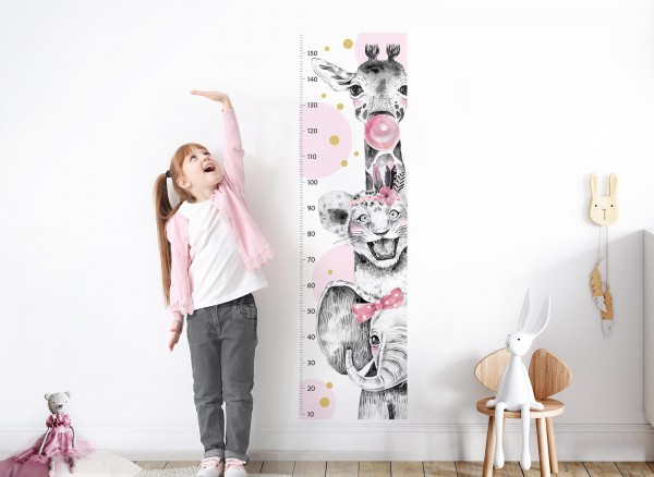 Little Deco Wandtattoo Messlatte 150cm Elefant Löwe Giraffe Rosa DL345